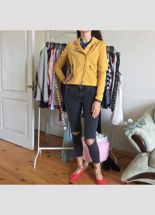 Желтая косуха/куртка/пиджак/жакет под замш. р. м