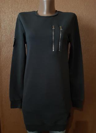 Длинный свитшот короткое платье в спортивном стиле  размер 6 celebry tees
