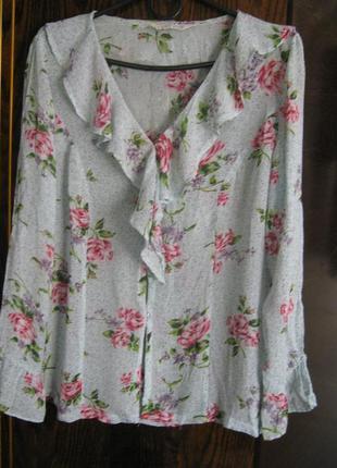 Натуральная рубашка блуза 100% вискоза воланы цветы