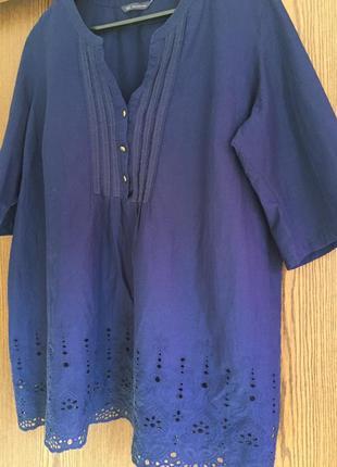 Чудесная коттоновая блуза с декором (прошва , мережка) пог 70 см