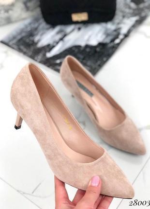 Красивые замшевые туфли на среднем каблуке, стильные, удобные туфли, лодочки хит сезона