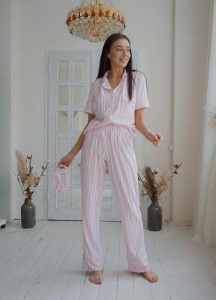 Пижама двойка полосатый  принт трикотажная пижама victoria's secret