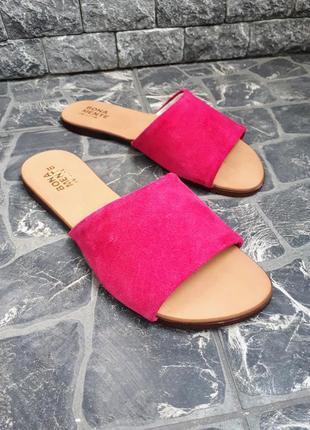 Замшевые шлёпанцы розовые р34-42 сандалии шлепки тапки сланцы тапочки шльопанці сандалі