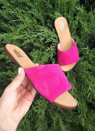 Замшевые шлёпанцы розовые р34-42 сандалии шлепки тапки сланцы тапочки шльопанці сандалі2 фото