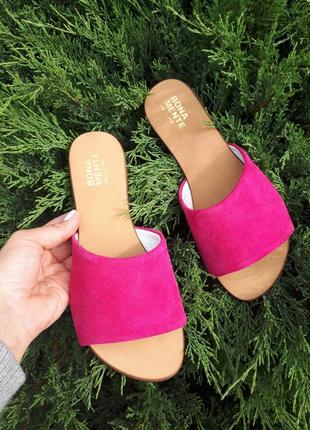 Замшевые шлёпанцы розовые р34-42 сандалии шлепки тапки сланцы тапочки шльопанці сандалі3 фото