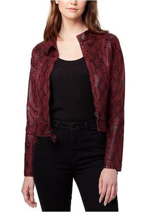 Натуральная кожаная куртка змеиный принт бордовая прямая стильная кожанка косуха красная