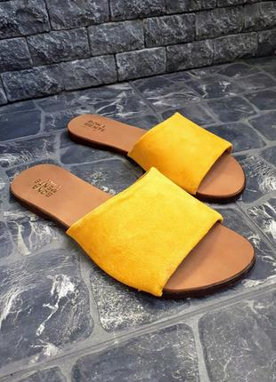 Замшевые шлёпанцы розовые р34-42 сандалии шлепки тапки сланцы тапочки шльопанці сандалі6 фото