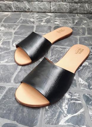 Кожаные шлёпанцы чёрные р34-42 сандалии шлепки тапки сланцы тапочки шльопанці сандалі