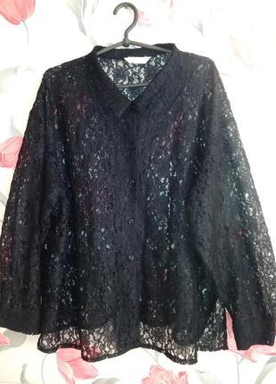 Винтаж .гипюровая блузка,рубашка 22размер