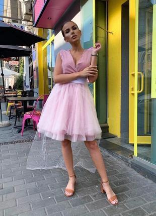 Платье мини на запах юбка пачка фатин