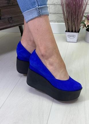 Туфлі натуральні електра\ туфли электрик замш натуральный