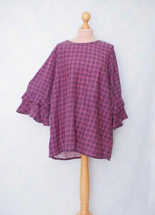 Батал блуза рубашка с рукавом и рюшами блуза рубашка