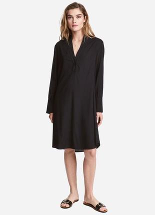 Натуральное платье-рубашка h&m, асимметричная длина, большой размер.