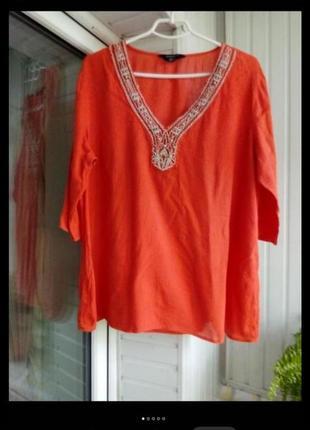 Коттоновая блуза большого размера батал с вышивкой