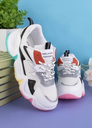 Стильные белые кроссовки на платформе массивные модные кроссы сетка