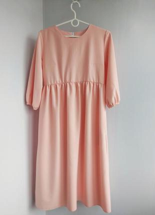 Коралловое платье плаття для беременных вагітних миди хлопковое
