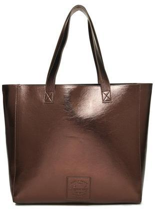 Большая стильная бронзовая сумка-шоппер superdry, zara, mango