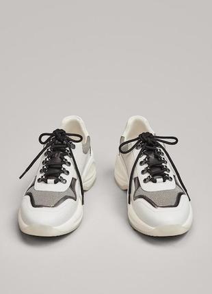 💥-30% кожаные масивные кроссовки на платформе massimo dutti.