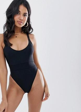 Сдельный черный купальник с высокими вырезами на бёдрах missguided uk10