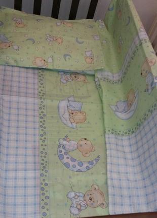 Постельный комплект в кроватку 3 предмета