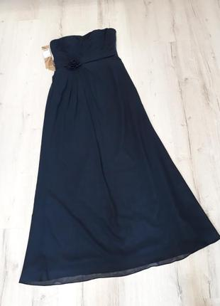 Платье вечернее длинное тёмно-синее размер м