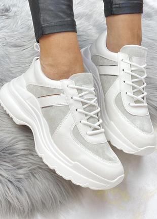 Новые шикарные женские бело-серые кроссовки