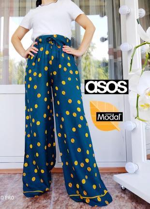 Asos шикарные брюки палаццо в пижамном стиле в горошек, высокая посадка
