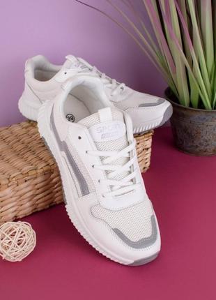 Стильные белые кроссовки сетка летние на платформе толстой подошве массивные модные кроссы