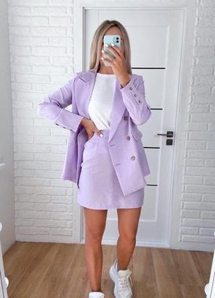 Костюм с юбкой, пиджаком лавандовый