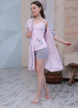 Домашний костюм тройка халат шорты и футболка.трикотажная пижама тройка. турция с-хл
