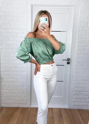 Блузка хлопковая с открытыми плечами зелёная