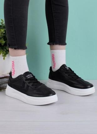 Стильные черные кроссовки кеды криперы на платформе толстой подошве
