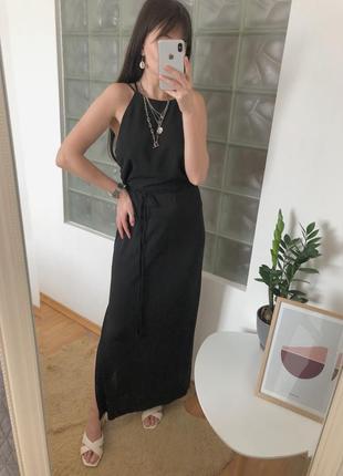 Чёрное платье в пол с разрезами и открытой спиной zara