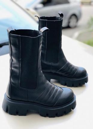 Женские демисезонные ботинки на тракторной подошве 5912д