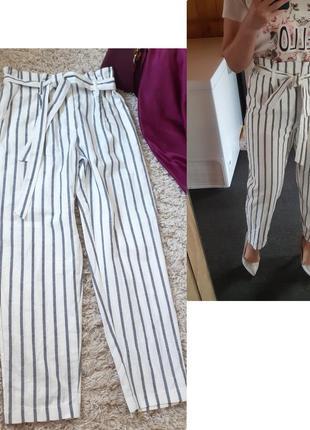 Шикарные стильные брюки бананы в полоску/высокая посадка, pieces,  p. l