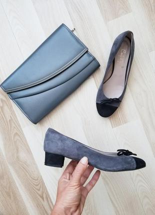 Кожаные туфли балетки замшевые