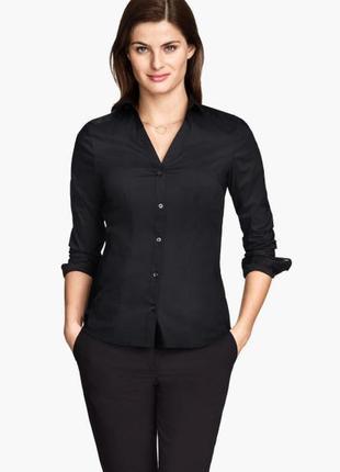 Рубашка  женская черная приталенная стильная h&m
