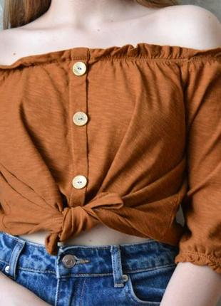 """Блуза """"кирпичного"""" цвета с опущенными плечами"""