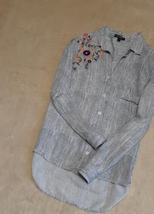 Рубашка v образный вырез в полоску с пунктиром вышивка цветы размер 12 velvet heart