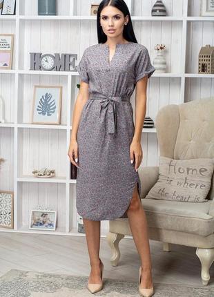 Платье женское с поясом приталенное длина миди цветы на сером