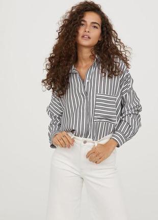 Льняная 100% лён белая рубашка в полоску длинный рукав размер 14-16 f&f