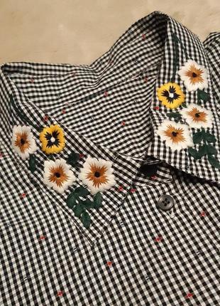 Рубашка блуза в клетку вышивка цветы,мелкая вышивка объёмный рукав батал размер 20 tu