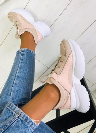 Крутые кроссовки натуральная кожа. кросовки осень на платформе