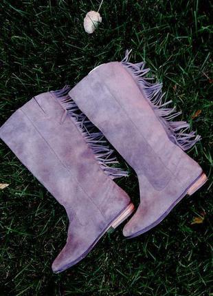 Суперські демі чоботи з бахромою замш