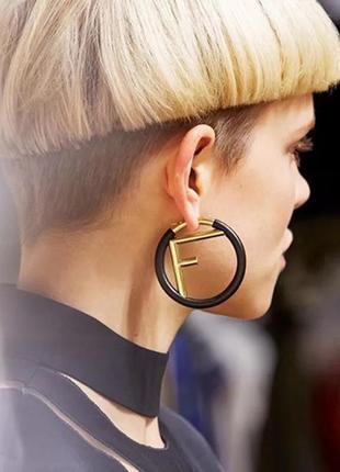 Трендовые серьги кольца f🖤/ стиль fendi/ марсала/золотой/новая коллекция 2020
