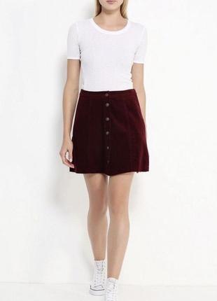 Бордовая вельветовая юбка