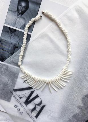 Ожерелье zara из ракушек бисера подвеска кулон бижутерия ракушки бисер украшение цепочка