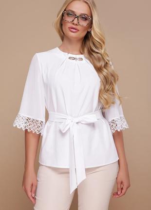 Женская блузка с кружевом, 3 цвета, большие размеры