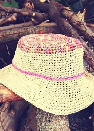 Панама шляпа соломенная натуральная рафия