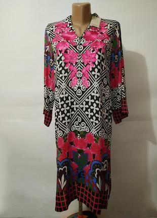 Платье легкое новое стильное в орнамент с вышивкой xs